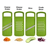 Mandoline Vegetable Slicer One Set With A Shredder A Cutter A Slicer And A Grinder Saving Time And Providing Healthy Cooking color green
