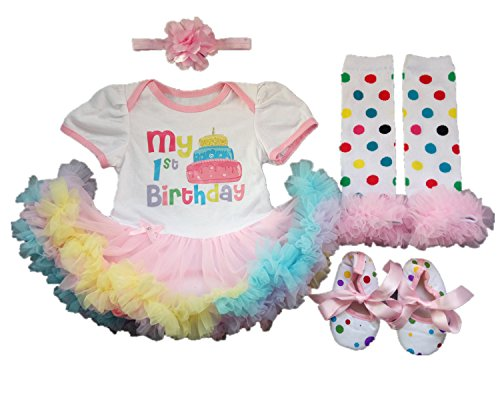 Birthday Party Outfit (AISHIONY 4PCS Baby Girl Newborn 1st Birthday Tutu Rainbow Outfit Party Dress XL)