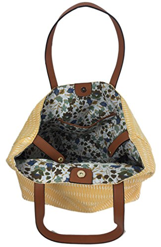 Canvas Tote and Designer with Straw Summer Shopper Expanding with SURF in Canvas Soft Summer Bag Glitter Yellow Handles Waves Zips Lovely Comfortable Large Bag in Beach Bag Waves Print Colours IxwHYYqR0