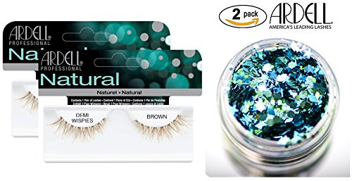 Ardell Professional NATURAL Lashes, DEMI WISPIES BROWN (2-PACK with bonus Skin/Hair GLITTER) (Demi Wispies Brown (2-PACK))