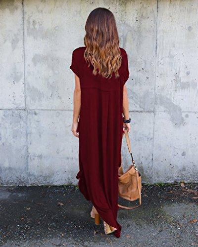 Robe Femmes pour Rojeam Courtes Manches Rouge dcontracte Tqdxw6S
