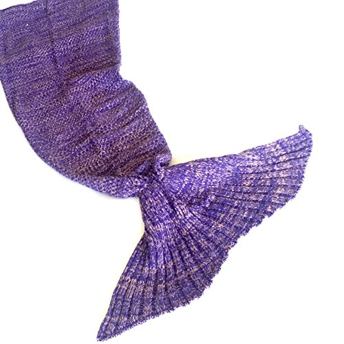 Riviera Mermaid Tail Blanket + Bonus Seashell Necklace and Mermaid Bookmark - The Softest Cozy Seatail Mermaid Blanket for Kids and Adults - Magical Crochet Blanket Throw for Sleepover Fun! (Purple) Heart Shell Necklace Set