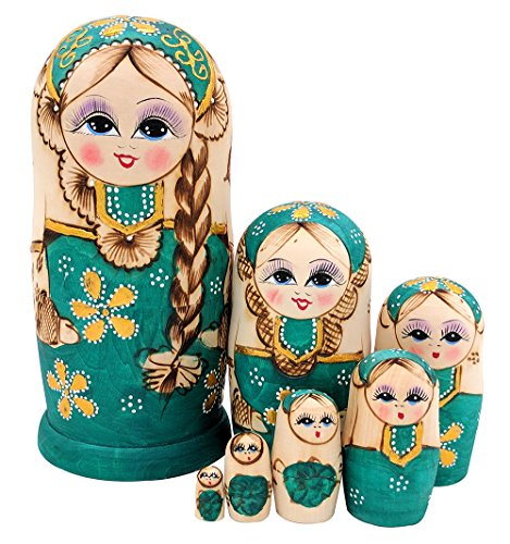 Cute Lovely Girl with Big Braid Handmade Wooden Russian Matryoshka Dolls for Kids Toy Birthday Christmas Gift Home Decoration (Green)