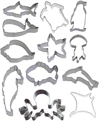12 Piece Aquarium Cookie Cutter Set Seahorse Starfish Turtle Shark Whale Dolphin