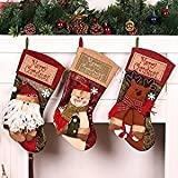 ZKLKLO 3 PCS Set Christmas Stockings, 17.7'' Xmas Stockings Hanging, 3D Santa Claus/Snowman/Reindeer Character Santa Gifts Socks Party Favors Decorative Hanging Ornaments