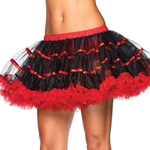 Oliveya Women Black Ruffle Dance Tutu Skirt Multi-Layered Pettiskirt Bubble ()