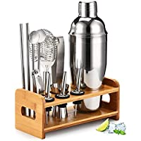Bartender Kit with Stylish Bamboo Stand, 12 Piece Cocktail Shaker Set for Mixed Drink, Professional Stainless Steel Bar…