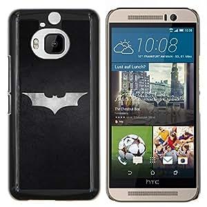 KLONGSHOP // Cubierta de piel con cierre a presión Shell trasero duro de goma Protección Caso - Minimalista Bat Superhero Logo - HTC One M9Plus M9+ M9 Plus //