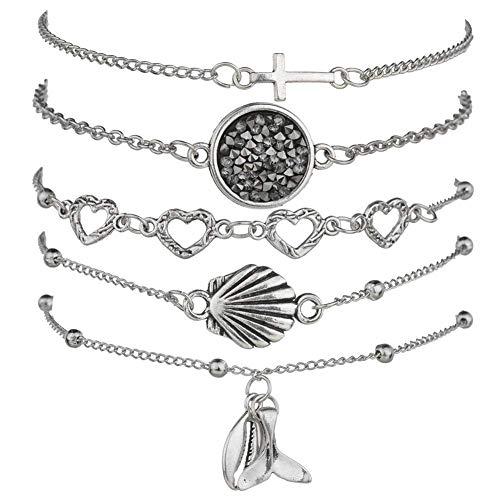 AIGE-Store Beaded Bracelets for Women - Adjustable Charm Pendent Stack Bracelets for Women Girl Friendship Gift Rose Quartz Bracelet Links with Pearl Golds Plated 5pcs/Set (Cross & Shell)