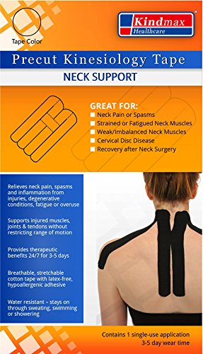 5 Pack - Kindmax Kinesiology Tape Precut Neck Support (Black) - K Tape for Neck Pain by Kindmax (Image #2)