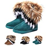 Not100 Womens Snow Boots For Winter Ankle Boot Booties Fox Rabbit Fur Fringe Shoes Black Vegan Size 10 | amazon.com
