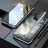 YMXPY Front Tempered Glass + Back Tempered Glass iPhone7plus iphone8plus Case Metal Frame 360° Full Cover Magnetic Adsorption All-Around Protection (Silver×Silver, iPhone 7plus/iPhone 8plus)