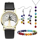 Top Plaza Womens Tree of life Dial Black PU Leather Band Analog Quartz Watch W/7 Chakra Necklace Bracelet Earrings Jewelry Set