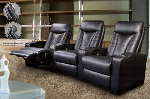 Pavilion Top Grain Leather 3 Seater Home Theater Seating in Black Finish! (3 Recliner Leather Match Theater)