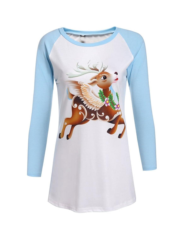 Qearal Women Christmas Reindeer Print Raglan Sleeve Patchwork Jersey Baseball T-shirt Tops