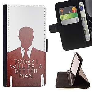 Momo Phone Case / Flip Funda de Cuero Case Cover - Be Better Man Suit etiqueta blanca - Samsung Galaxy Note 5 5th N9200