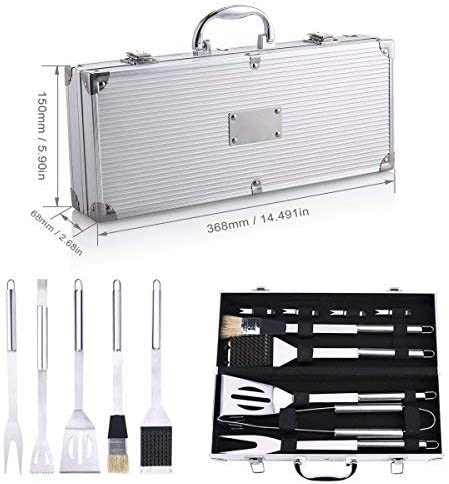 Kit Ustensiles Barbecue, Discoball en acier inoxydable Lot de 9 outils pour barbecue grillade avec mallette aluminium