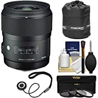 Sigma 35mm f/1.4 Art DG HSM Lens with Pouch + 3 UV/CPL/ND8 Filters + Kit for Sony Alpha A-Mount DSLR Cameras