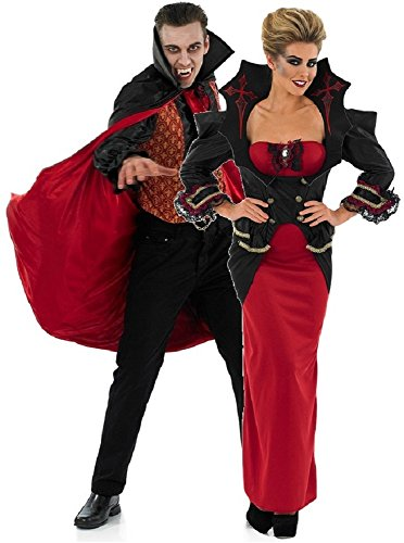 Couples Ladies and Mens Vampire Matching Halloween Fancy Dress Costumes Outfits UK 8-30 Plus Size & Mens M-XL (Ladies UK 12-14 & Mens Medium) Red/Black ()