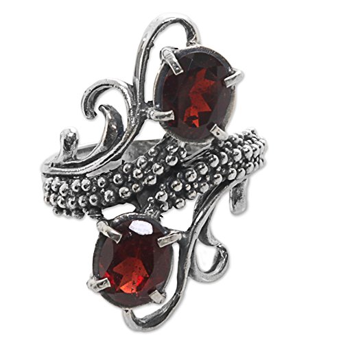 NOVICA Garnet .925 Sterling Silver Cocktail Ring 'Magical Union in Red' - Garnet Sterling Silver Designer Ring