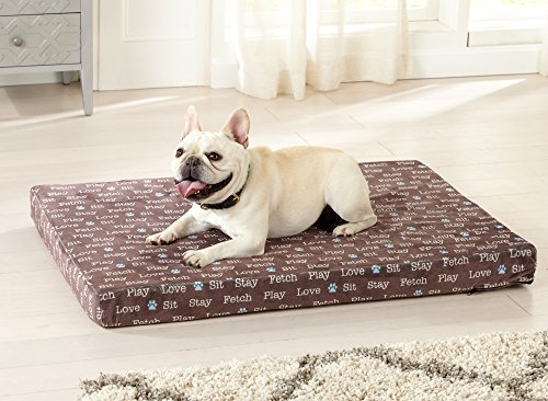 Great Bay Home Orthopedic Dog Bed with Egg Crate Memory Foam. Zippered, Machine Washable Cover. Pampered Pup (Brown). ()