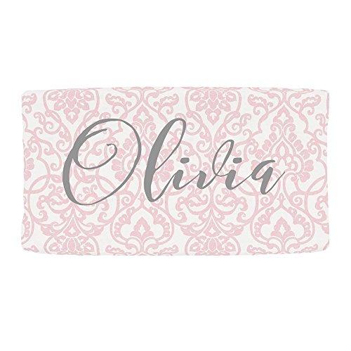 Carousel Designs Personalized Custom Pink Filigree Changing Pad Cover Olivia Idea - Organic 100% Cotton Change Pad Cover - Made in The USA by Carousel Designs