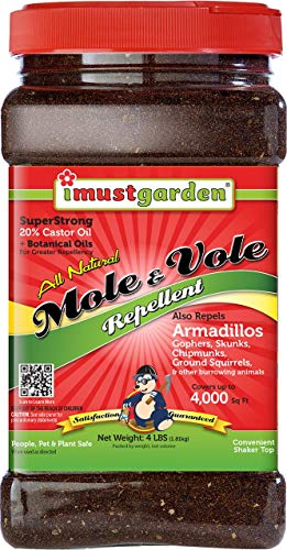 I Must Garden Mole/Vole Repellent - 4lb Granular: Super Strong, All Natural Formula - Effective Year-Round - Also Repels Armadillos, Gophers, and Skunks ()