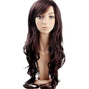 MelodySusie Dark Brown Curly Wig - Natural Women Long Curly Wig with Free Wig Cap (Dark Brown)