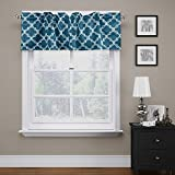 Kitchen Window Treatments Modern FlamingoP Quatrefoil Navy Valance Curtain Extra Wide and Short Window Treatment for Kitchen Living Dining Room Bathroom Kids Girl Baby Nursery Bedroom 52