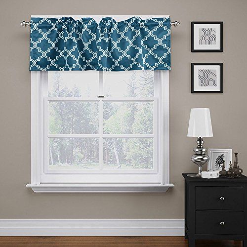 FlamingoP Quatrefoil Navy Valance Curtain Extra Wide And Short Window Treatment For Kitchen Living Dining Room Bathroom Kids Girl Baby Nursery Bedroom 52