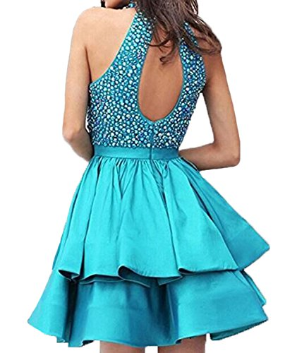 AngelCity Brides Juniors Halter Prom Dresses Beading Homecoming Party Dresses Short Hole Back