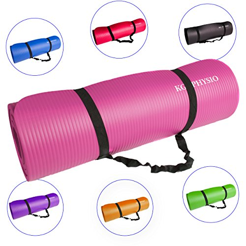 🥇 KG Physio Esterilla de Yoga Extra Grueso 12mm–con Correa de Hombro Antideslizante para fácil Transporte–Fabricado con Material NBR Esencial para Grueso Acolchado Mats