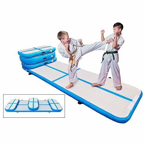 Happybuy Inflatable Gymnastics Tumbling Mat Air Tumbling Track Air Floor Mat for Home Use/Cheerleading/Beach/Park (Blue, 4PCS Air Track Mat)