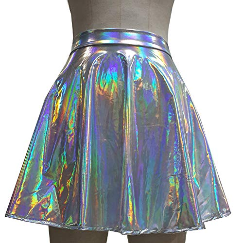 8d1d65556ec pinda Summer Musical Festival Holographic Rainbow Rave EDM Outfits High  Waisted Flare Skater Skirt