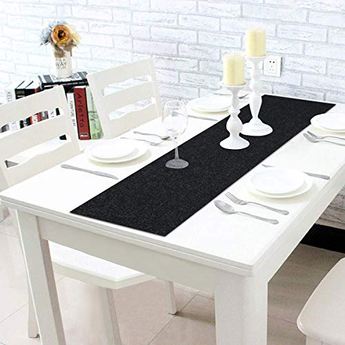 HOKIPO® Poly Jute 4 Seater Dining Table Runner, 12×52 Inches, Dark Grey (IN44-DGRY)
