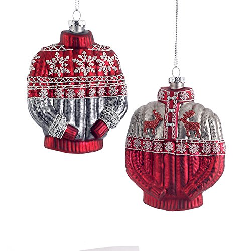 kurt adler assorted red white silver painted nordic ugly sweater christmas tree ornaments with