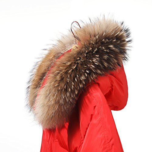 Zegeon Real Fur Collar Coat Raccoon Detachable Brown Genuine Fur Scarf Winter Women Collar Accessories Scarves Wraps Shawls