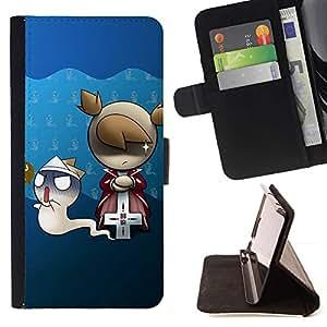 Momo Phone Case / Flip Funda de Cuero Case Cover - Fantasma lindo y de la muchacha - HTC One M9