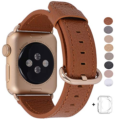 PEAK ZHANG Compatible Iwatch Band 38mm, Women Light Brown Genuine Leather Replacement Wrist Strap with Gold Adapter and Buckle Compatible Iwatch Series 2/1/Edition/Sport by PEAK ZHANG