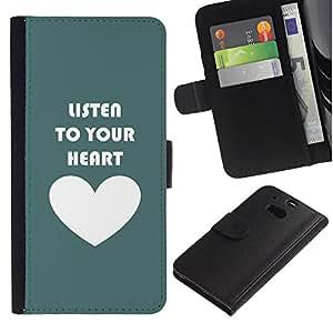 For HTC One M8,S-type® Quote Love Motivational Teal White - Dibujo PU billetera de cuero Funda Case Caso de la piel de la bolsa protectora