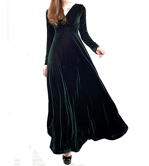 Womens Elegant Vneck Stretch Velvet Party Cocktail Gown Night Maxi