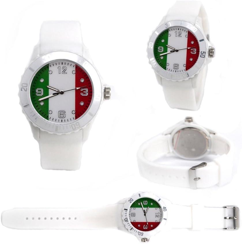 Moda Sport 2018 Fútbol Copa del Mundo Bandera de Reloj de Silicona, Copa del Mundo de Moda Reloj, Correa de Silicona Suave Fútbol Fan Souvenir Relojes de Pulsera Italia: Amazon.es: Relojes