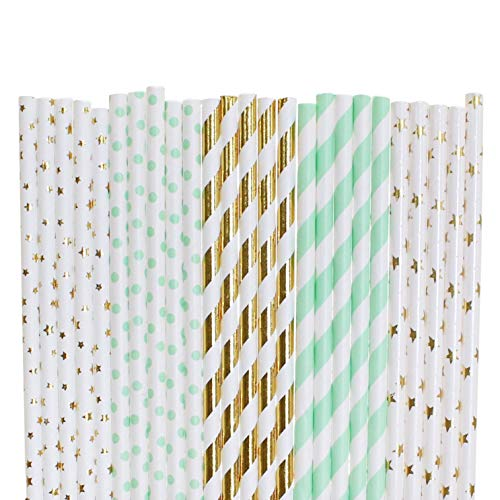 Twinkle Twinkle Little Star Paper Straws (gold foil small star,mint green small polka dot,gold foil stripe,mint green stripe,gold foil star, 50)