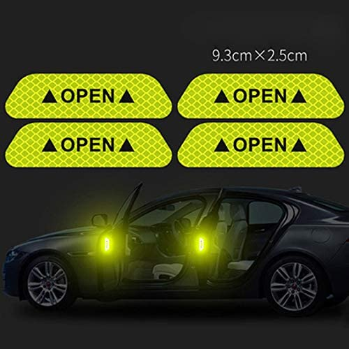 White  4PCS Super Car Door Open Sticker Reflective Tape Safety Warning Decal