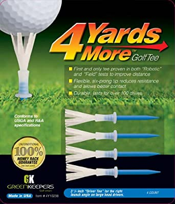 "4 More Yards Plastic Golf Tees - 3 1/4"" - Blue (4 Tees)"
