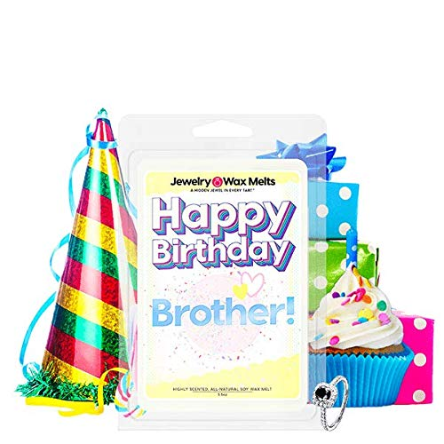 Happy Birthday Brother Jewelry Wax Melt | Ring Tart | Bro Sibling Jewel Valued at $15 - $7,500 | 21oz Jar Soy Wax | Ring (Size 8) | Baked Apple Pie (Birthday Wishes For Small Brother In Hindi)