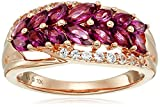 10k Pink Gold Rhodolite and Created White Sapphire Tree Leaf Ring, Size 7