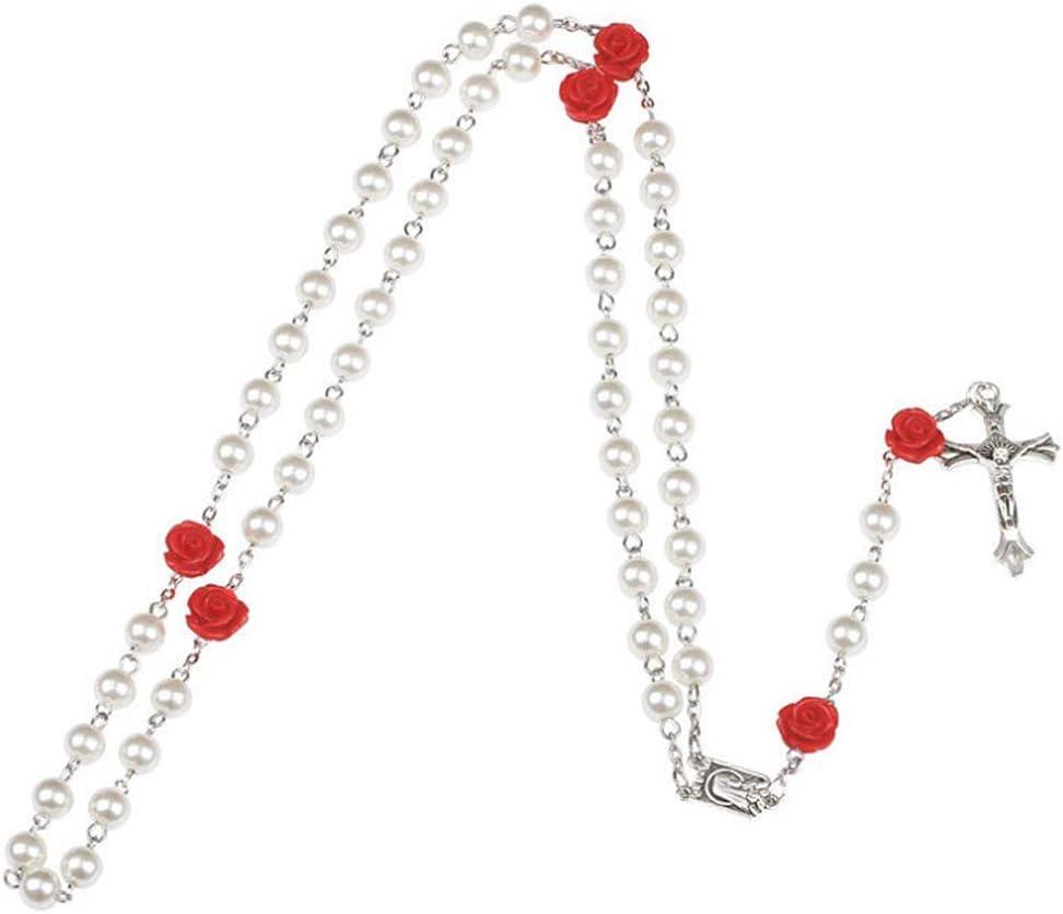 ANLW Collar De Rosario Collar De Perla Rosa Cruz Roja Collar De Mujer Religiosa Jesucristo Virgen María