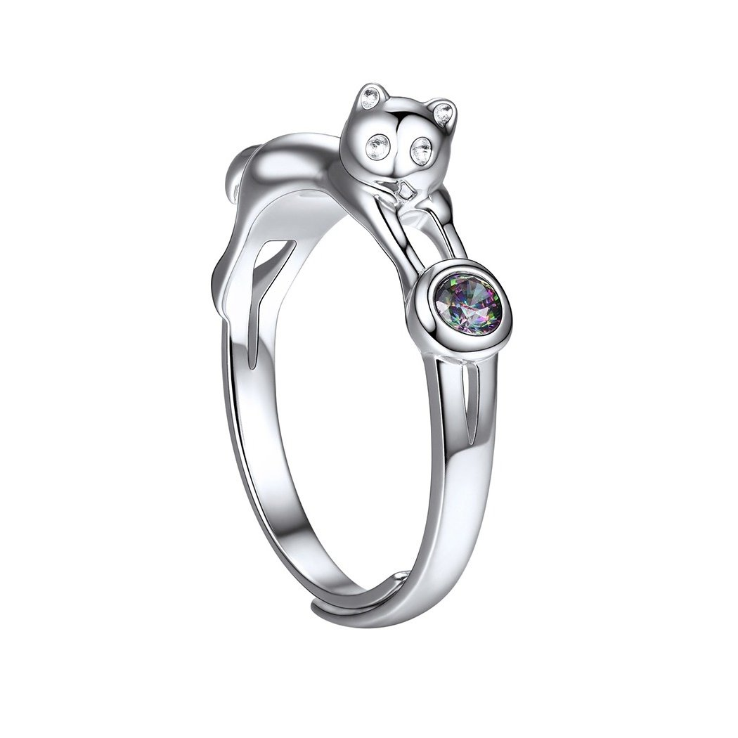 Happy Cat Ring Open Design with Rainbow Cubic Zirconia 925 Sterling Silver Ring Lovely Girls Women Fine Jewelry
