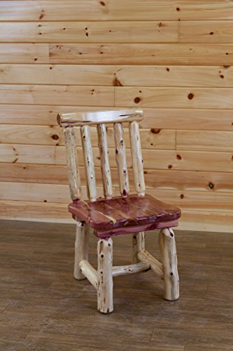 Amish Dining Room Furniture - Red Cedar Log Dining Room Spindle Back Chairs - Set of 2 - Amish Made in USA